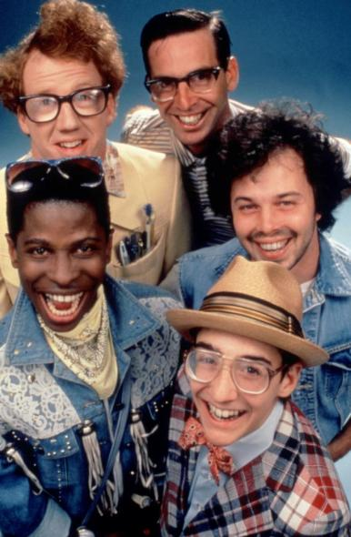 REVENGE OF THE NERDS II: NERDS IN PARADISE, (clockwise from bottom left): Larry B. Scott, Timothy Busfield, Robert Carradine, Curtis Armstrong, Andrew Cassese, 1987, TM and Copyright (c)20th Century Fox Film Corp. All rights reserved.