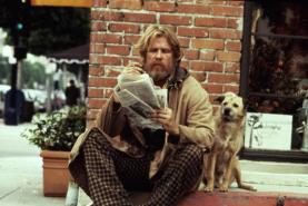 DOWN AND OUT IN BEVERLY HILLS, Nick Nolte, 1986, bum reading the newspaper