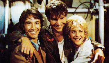 INNERSPACE, from left: Martin Short, Dennis Quaid, Meg Ryan, 1987, © Warner Brothers